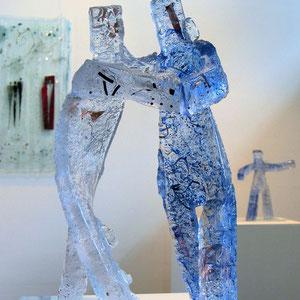 Tango, Sandguss heiß von Hand geformt, optisches Glas, ca. 43x30x30 cm