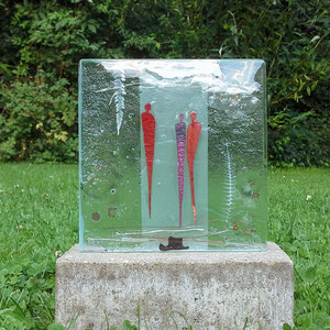 Grabstein (-Teil) Begegnungen, Floatglas, Fusing-Technik, 15x15x2