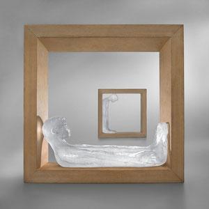 ImRahmen, Ofenguss, optisches Glas, Lärenholz, ca. 20x20x5 cm, Foto: Markus Steur