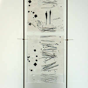 Lichtbild_Begegnungen, Fusing-Technik, Überfangglas, Metallständer, 70x25 cm