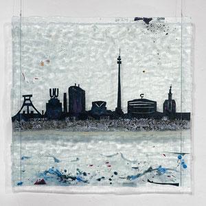 Am goldenen Strand der Nordsee... Dortmund, Floatglas, Mischtechnik, 72x74 cm, Foto: Markus Steur