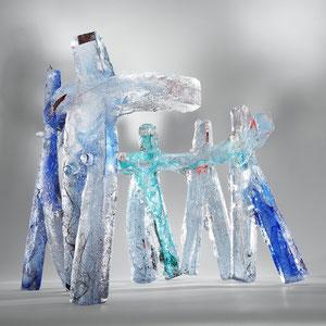 Olympia, Sandguss heiß von Hand geformt, optisches Glas, 2-teilig, ca. 43x50x50 cm, Foto: Markus Steur