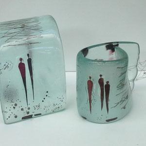 Begegnungen, Floatglas, Fusing- heiß von Hand geformt, ca. 15x15x15 cm