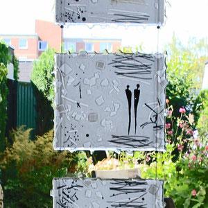 Lichtbild_Begegnungen, Seilsystem, Fusing-Technik, Überfangglas, je Bild: 20x23 c,