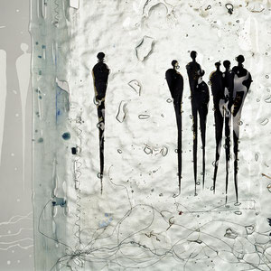 Begegnungen_2004, Floatglas und Spiegel, Fusing-Technik und Sandstrahlung, Spiegel: 230x30 cm, Bild: 90x60 cm, Foto: Markus Steur