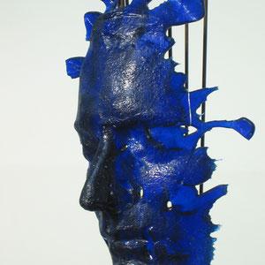 Maske,  in Form geschmolzen, SpectrumGlas, original-Gesichtsabduck, Metallständer
