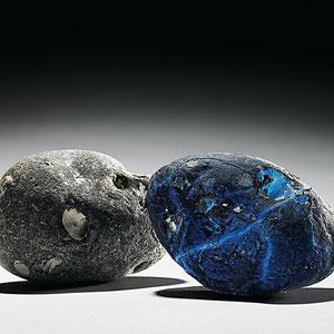 Zwilling, Ofenguss, Kristallglas, Rügen-Feuerstein, ca. 10x20x12 cm