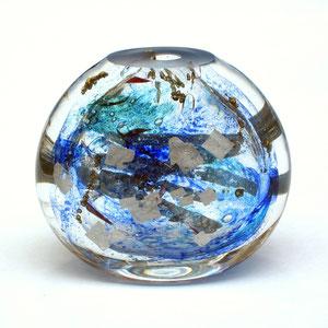 Diskus, Vasenobjekt, mundgeblasen, optisches Glas, geschliffen, poliert