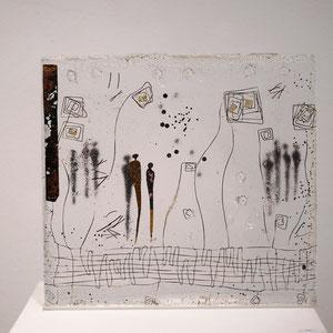 Begegnungen, Sandguß, optisches Glas, 26x28x3 cm