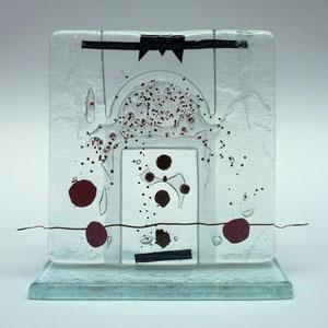 Stele, Floatglas, Fusing-Technik, 12x12x5 cm