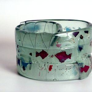 stummes Gespräch, Floatglas, Fusing- heiß von Hand geformt, ca. 18x20x20 cm