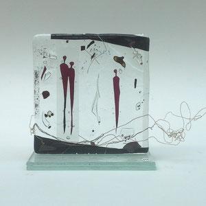 aus dem Zyklus Begegnungen, Stele, Floatglas, Fusing-Technik, 10x10x5 cm