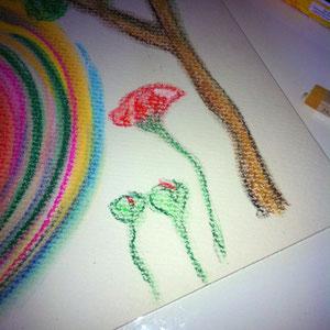 Fülle die Blüten und den Stiel mit Farbe aus und achte darauf, dass Du immer mit der gewünschten Form gehst.