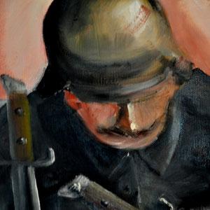 Ein Soldat, mit Bajonetten durch die Hände festgenagelt....