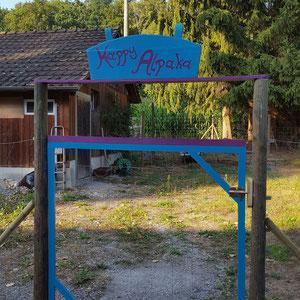 Alpaka Farm Tor zu den Alpakas