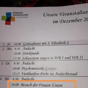 Veranstaltungsprogramm  der Diakonie-Gemeinschaft Puschendorf
