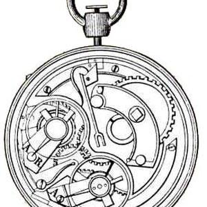 Auguste Baud 1868. Joux Valley. Mecanisme de cronògraf en els ponts del tren laterals i diversos comptadors (minuts i hores).