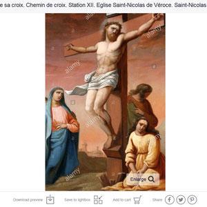 Jésus est chargé de sa croix. Chemin de croix. Station XII. Eglise Saint-Nicolas de Véroce. Saint-Nicolas de Véroce.