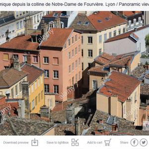 Vue sur Lyon depuis la colline de Notre-Dame de Fourvière.