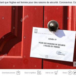 Eglise Saint-Gervais et Protais. Coronavirus. Covid19. Saint-Gervais-les-Bains. Haute-Savoie.