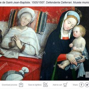 La Naissance de Saint-Jean-Baptiste. 1505/1507. Defendente Deferrari. Musée municipal du Monastère royal de Brou. Bourg-en-Bresse.