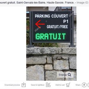 Parking couvert gratuit. Saint-Gervais-les-Bains. Haute-Savoie.