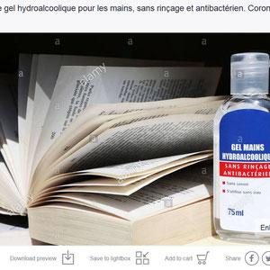 Gel hydroalcoolique. Coronavirus. Covid19. Saint-Gervais-les-Bains. Haute-Savoie.