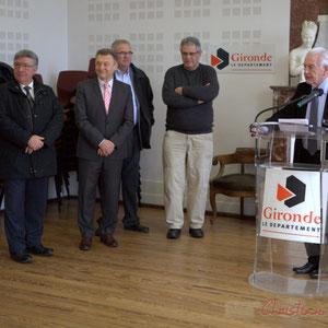 Alain Leveau, Jean-Marie Darmian, Jean-Jacques Paris, Pierre Gachet, Philippe Madrelle, Président du Conseil général de la Gironde, Hôtel de ville de Créon, 13 mars 2015