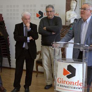 Jean-Jacques Paris, Philippe Madrelle, Pierre Gachet, Jean-Marie Darmian, suppléant de Martine Faure, députée de la Gironde, Hôtel de ville de Créon, 13 mars 2015