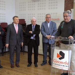 Alain Leveau, Jean-Jacques Paris, Philippe Madrelle, Jean-Marie Darmian, Pierre Gachet, Hôtel de ville de Créon, 13 mars 2015