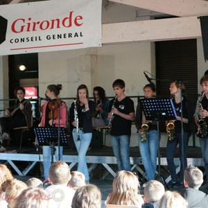 Un soutient du département de la Gironde. Big Band Jazz du Collège Eléonore de Provence, Monségur, promotion 2011. Festival JAZZ360, Cénac. 01/06/2011