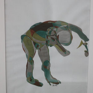 I bow to, Mischtechnik auf Papier,2016, 39 cm x 42 cm