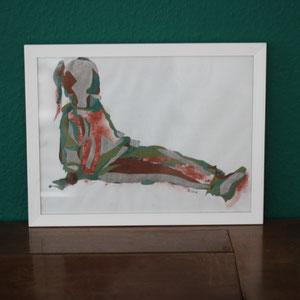 Mädchen sitzend, Mischtechnik auf Papier,2016, 39 cm x 42 cm