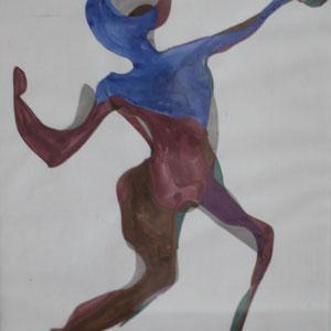 Kraftakt, Mischtechnik auf Papier, 2016, 39 cm x 42 cm