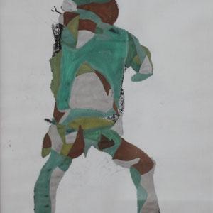 Axel embracing life, Mischtechnik auf Papier,2016, 39 cm x 42 cm