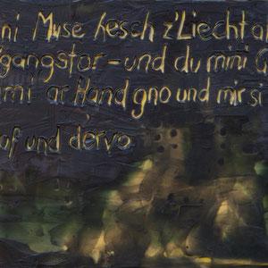 uf und dervo – 2017 – Wachsmalerei auf Holz – 10 x 15 cm – verkauft