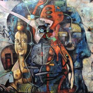 ...UND ANDERES, Öl, Akryl, Papier und Sandgesso auf Leinwand,100 x 120 cm. , 2005 - 2014