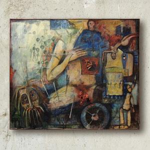 JUDITH, Öl, Akryl, Papier, Sandgesso, Schmerzmittel und Zigaretten auf Leinwand, 100 x 120 cm. 2001-2014