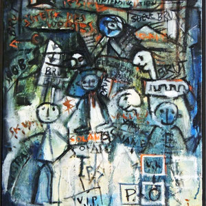 O.T. , Öl, Akryl und Sandgesso auf Leinwand, 60 x 50 cm. , 2003