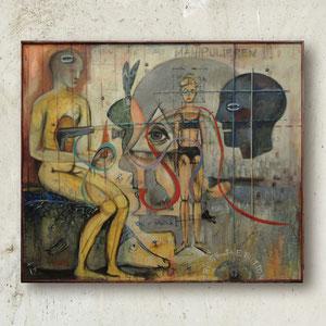 VERMESSEN, Öl, Akryl, Papier und Sandgesso auf Leinwand,100 x 120 cm. ,2005 - 2014