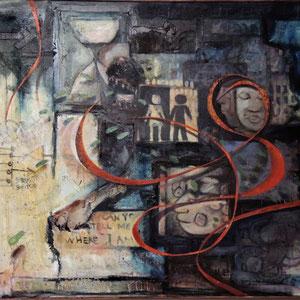 STANDPUNKT , Öl, Akryl, Papier und Sandgesso auf Leinwand, 100 x 120 cm. , 2000 - 2014