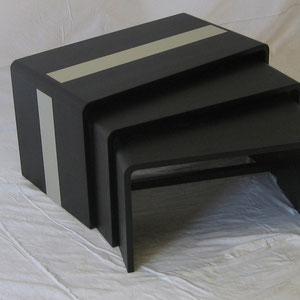 Tischensemble Esche schwarz gebeizt, Linoleum