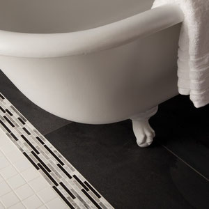 Black & White Bathroom Floor featuring Porcelain Tile, Stone Mosaic, and Ceramic Mosaic