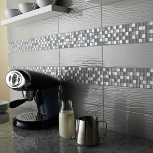Wavy Gray Glass Tiles with Gray and White Glass and Stone Mosaic