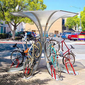The Umbrella Arc joins together eight bicycle racks and is our most space-efficient design.