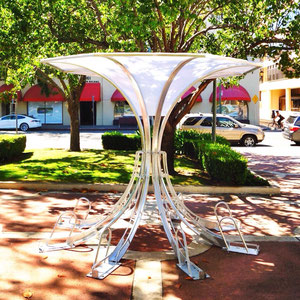 Our Umbrella Arc combines eight bike parking spaces into one space-efficient sculpture.