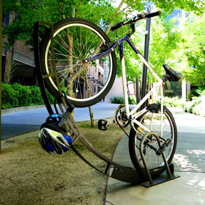 Lock up! Bike Arc's racks are u-lock friendly (for both wheels and your helmet).