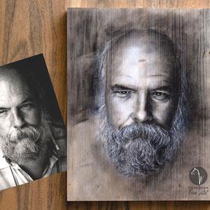 Portrait nach Vorlage Pastell auf Holzplatte