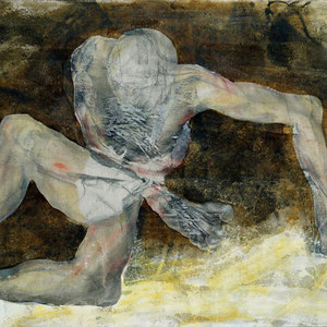 Etude pour un danseur, 2007-2012, fusain et pastel broyé, colle de peau colorée, enduit acrylique blanc et huile sur toile, 89 x 130 cm.