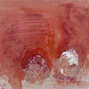 Humeur violette, 1992, colle de peau colorée et huile sur toile, 89 x 116 cm, Collection particulière, France.
